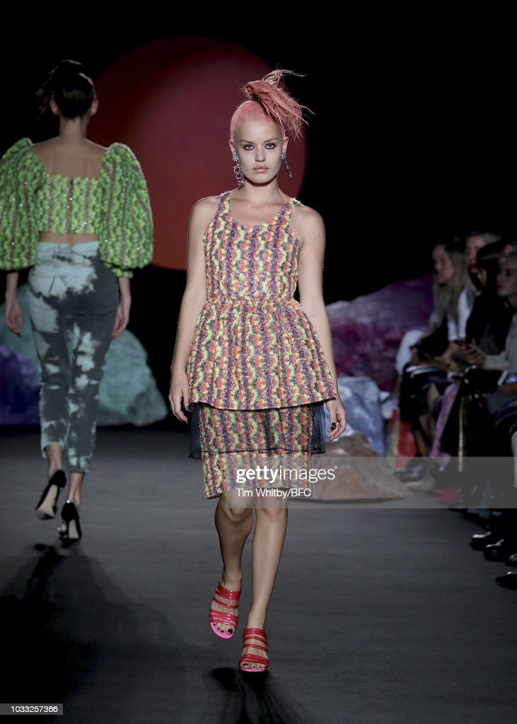 Georgia May Jagger walks the runway at the Ashley Williams presentation during London Fashion Week September 2018 at the House of Vans on September 14, 2018 in London, England.