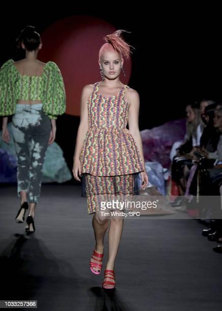 Georgia May Jagger walks the runway at the Ashley Williams presentation during London Fashion Week September 2018 at the House of Vans on September...