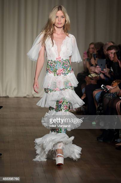 Georgia May Jagger walks the runway at the Marchesa show during London Fashion Week Spring Summer 2015 at on September 13 2014 in London England