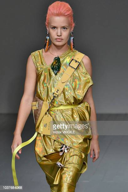 Georgia May Jagger walks the runway at the Matty Bovan Ready to Wear Spring/Summer 2019 fashion show during London Fashion Week September 2018 on...