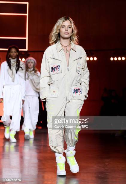 Georgia May Jagger walks the runway at the TommyNow show during London Fashion Week February 2020 at the Tate Modern on February 16 2020 in London...