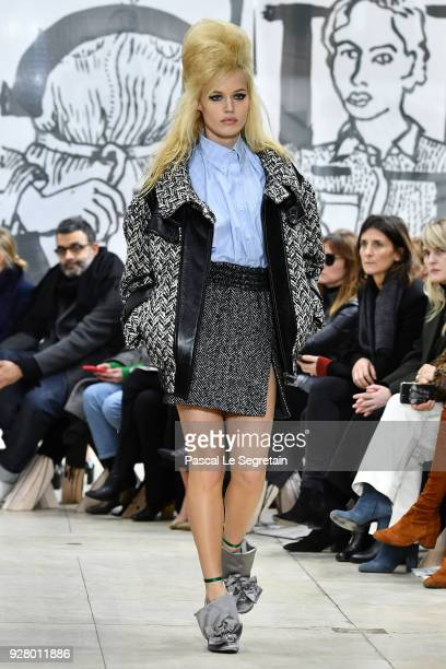 Georgia May Jagger walks the runway during the Miu Miu show as part of the Paris Fashion Week Womenswear Fall/Winter 2018/2019 on March 6 2018 in...