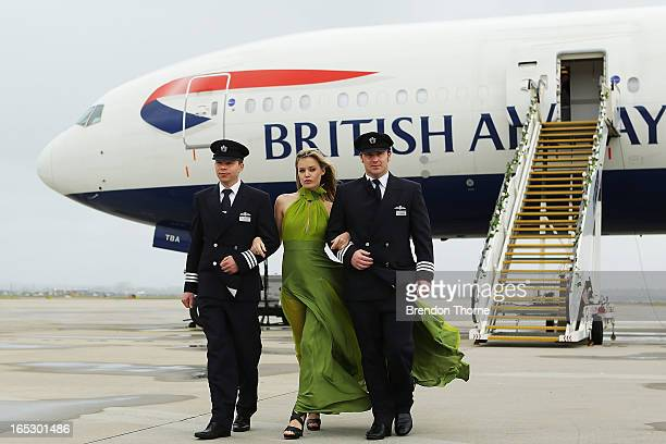 Georgia May Jagger wearing Tech Empire dress by PPQ walks with British Airways pilots on April 3 2013 in Sydney Australia Celebrating a new chapter...