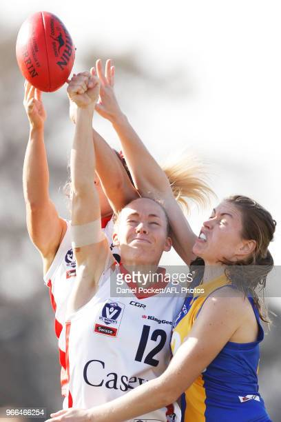 Georgia McLean of the Scorpions spoils the ball during the round five VFL match between Williamstown and Casey at Williamstown Football Ground on...