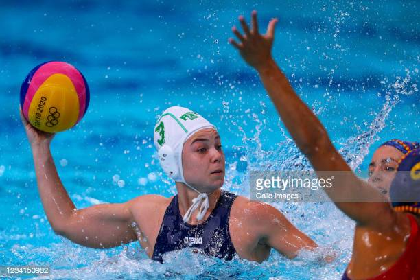 Georgia Moir of South Africa during the preliminary round between South Africa and Spain of the Water Polo event on Day 1 of the Tokyo 2020 Olympic...