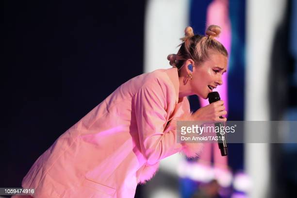 Georgia Nott of Broods opens for Taylor Swift at Mt Smart Stadium on November 9 2018 in Auckland New Zealand