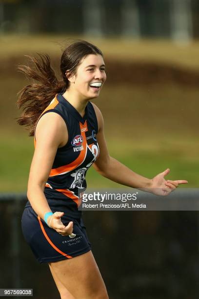 Georgia Patrikios of the Calder Cannons celebrates a goal during the TAC Cup round six match between the Calder Cannons and Eastern Ranges at RAMS...