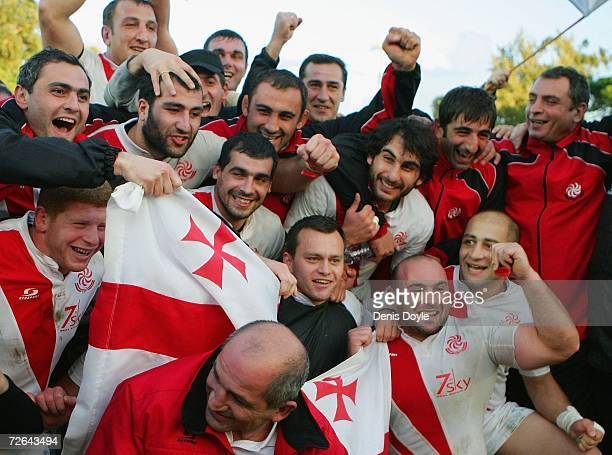 Georgia players celebrate after they drew 11-11 in the Rugby World Cup Qualifier against Portugal at the Estadio Universitario on November 25, 2006...