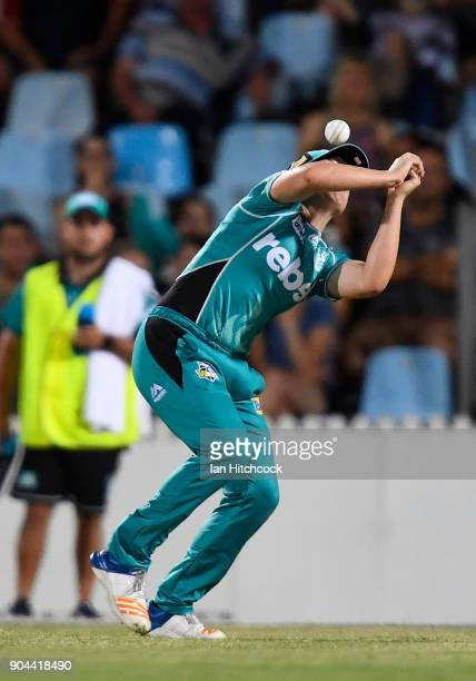 Georgia Prestwidge of the Heat drops a catch during the Women's Big Bash League match between the Brisbane Heat and the Melbourne Stars on January 13...