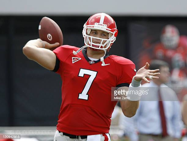 Georgia QB Matthew Stafford warms up before the game between the University of Georgia Bulldogs and University of AlabamaBirmingham Blazers at...