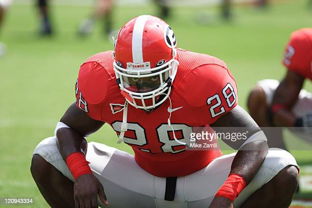 Georgia RB Danny Ware stretches before the game against Louisiana Monroe at Sanford Stadium in Athens GA on September 17 2005 The Bulldogs beat the...