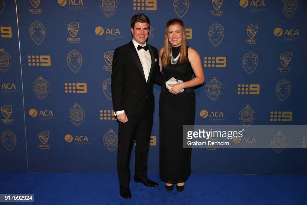 Georgia Redmayne arrives at the 2018 Allan Border Medal at Crown Palladium on February 12 2018 in Melbourne Australia