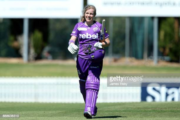 Georgia Redmayne of the Hobart Hurricanes after losing her wicket during the Women's Big Bash League WBBL match between the Hurricanes and the...