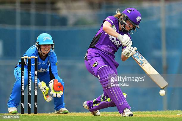 Georgia Redmayne of the Hobart Hurricanes bats during the WBBL match between the Adelaide Strikers and the Hobart Hurricanes at Gliderol Stadium on...