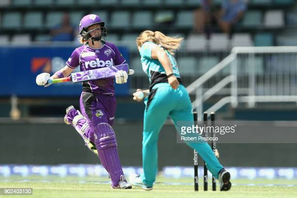 Georgia Redmayne of the Hobart Hurricanes is runout during the Women's Big Bash League match between the Hobart Hurricanes and the Brisbane Heat at...