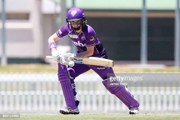 Georgia Redmayne of the Hobart Hurricanes plays a shot during the Women's Big Bash League WBBL match between the Strikers and the Hurricanes at...