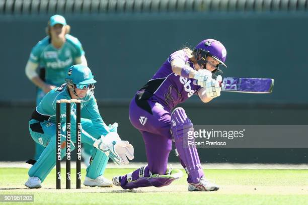 Georgia Redmayne of the Hobart Hurricanes plays a shot during the Women's Big Bash League match between the Brisbane Heat and the Hobart Hurricanes...