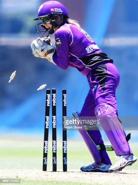 Georgia Redmayne of the Hobart Hurricanes runs out Tabatha Saville of the Adelaide Strikers during the Women's Big Bash League WBBL match between the...