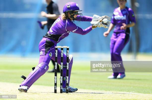 Georgia Redmayne of the Hobart keeps Hurricanes during the Women's Big Bash League WBBL match between the Hurricanes and the Strikers at Gliderol...