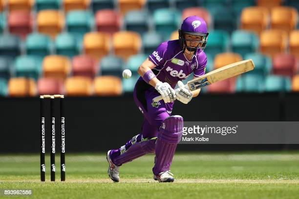 Georgia Redmayne of the Hurricanes bats during the Women's Big Bash League match between the Hobart Hurricanes and the Sydney Sixers at Blundstone...