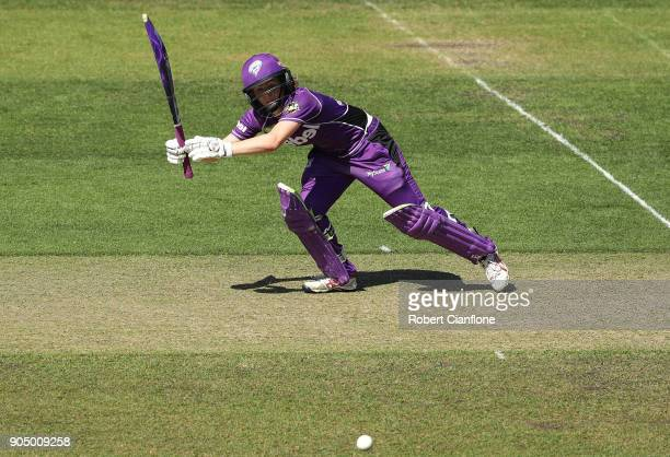 Georgia Redmayne of the Hurricanes bats during the Women's Big Bash League match between the Hobart Hurricanes and the Melbourne Renegades at...