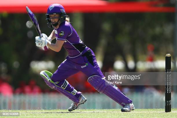 Georgia Redmayne of the Hurricanes bats during the Women's Big Bash League match between the Hobart Hurricanes and the Perth Scorchers atLilac Hill...