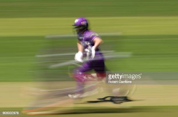 Georgia Redmayne of the Hurricanes makes a run during the Women's Big Bash League match between the Hobart Hurricanes and the Melbourne Renegades at...