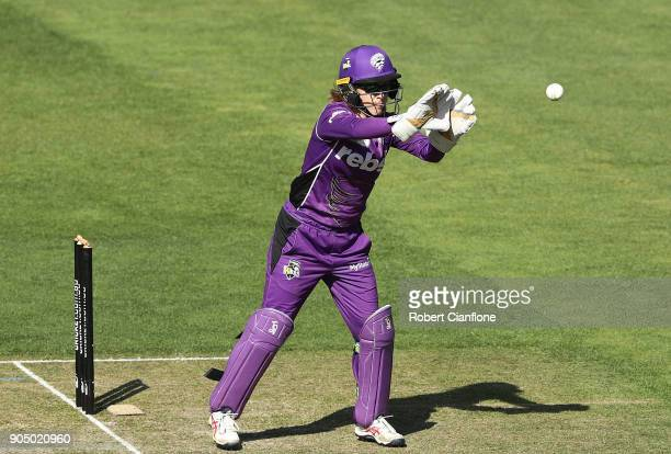 Georgia Redmayne of the Hurricanes takes the ball during the Women's Big Bash League match between the Hobart Hurricanes and the Melbourne Renegades...