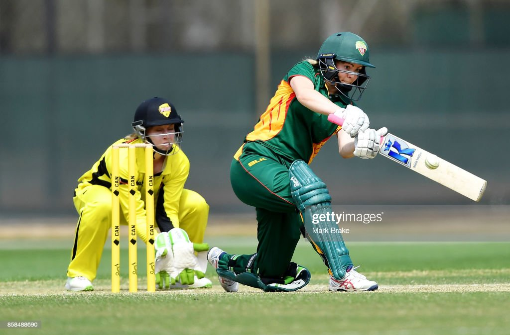Georgia Redmayne on her way to a half century during the WNCL match between Tasmania and Western Australia at Adelaide Oval No.2 on October 7, 2017 in Adelaide, Australia.