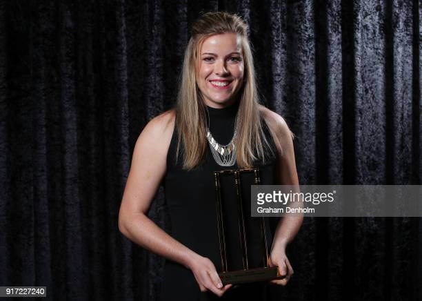 Georgia Redmayne poses with the Betty Wilson Young Cricketer of the Year award during the 2018 Allan Border Medal at Crown Palladium on February 12...