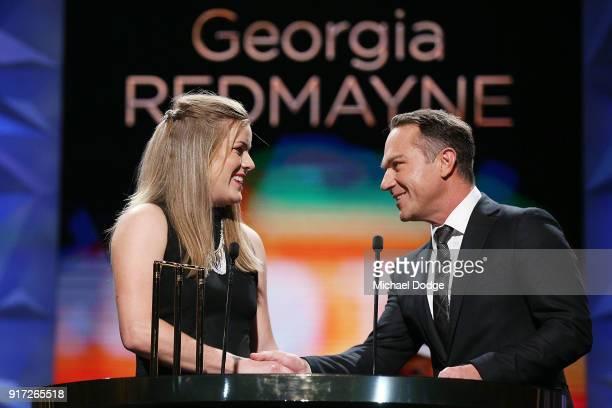 Georgia Redmayne speaks with host Michael Slater at the 2018 Allan Border Medal at Crown Palladium on February 12 2018 in Melbourne Australia