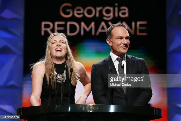 Georgia Redmayne speaks with host Michael Slater at the 2018 Allan Border Medal at Crown Palladium on February 12 2018 in Melbourne Australia