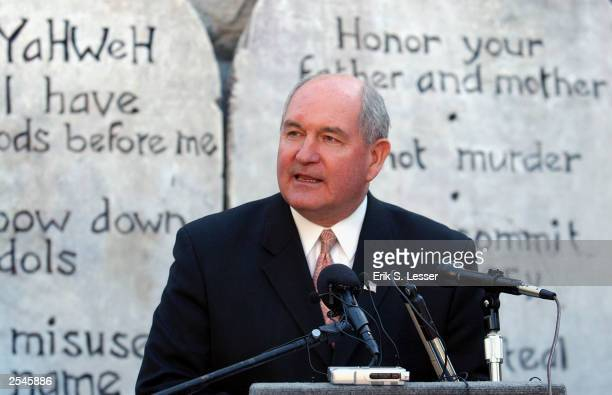 Georgia Republican Governor Sonny Perdue speaks in support of the public display of the Ten Commandments during the Spirit of MontgomerySave the...