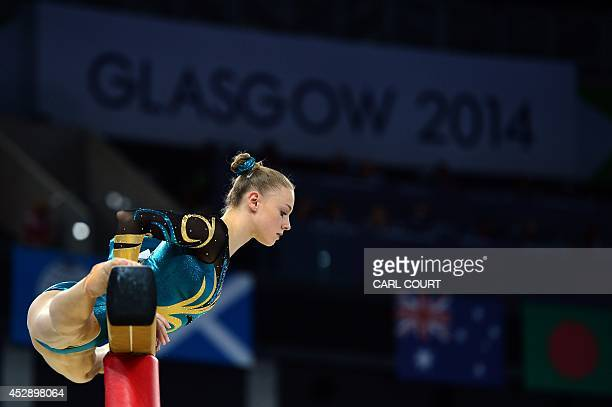 Georgia Rose Brown of Australia performs on the beam during the Team Final and Individual qualification of the Artistic Gymnastics event during the...