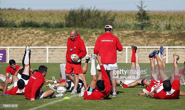 Georgia rugby union national team French assistant coach Henry Broncan takes part in a training session, 05 September 2007 in Arnas. Rugby World Cup...