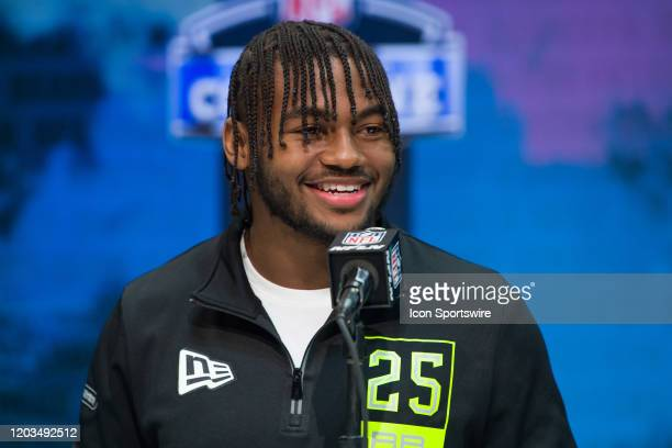 Georgia running back D'Andre Swift answers questions from the media during the NFL Scouting Combine on February 26 2020 at the Indiana Convention...