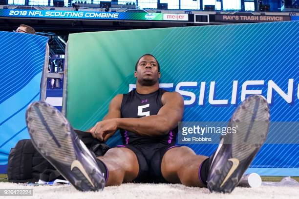 Georgia running back Nick Chubb looks on after working out during the 2018 NFL Combine at Lucas Oil Stadium on March 2 2018 in Indianapolis Indiana