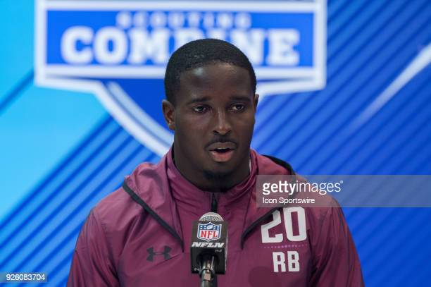 Georgia running back Sony Michel answers questions from the media during the NFL Scouting Combine on March 1 2018 at the Indiana Convention Center in...