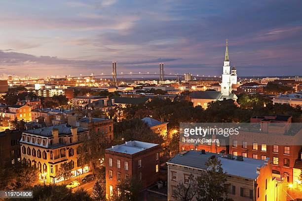 USA, Georgia, Savannah, Cityscape with Talmadge Memorial Bridge