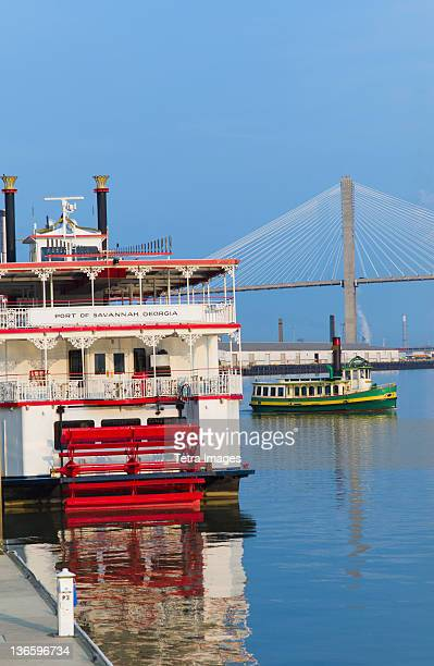USA, Georgia, Savannah, Passenger ship with Talmadge Bridge in background