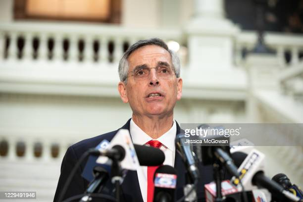 Georgia Secretary of State Ben Raffensperger holds a press conference on the status of ballot counting on November 6, 2020 in Atlanta, Georgia. The...