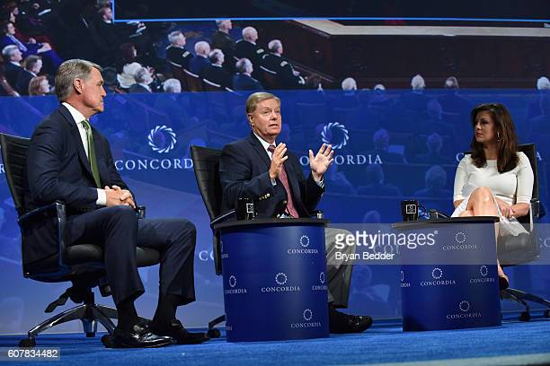 Georgia Senator David Perdue South Carolina Senator Lindsey Graham and EY Executive Director Morgan Ortagus speak at the 2016 Concordia Summit Day 1...