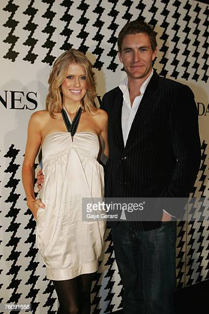 Georgia Sinclair and Brett Tucker arrive at the David Jones Summer 2007 Collection Launch at the Melbourne Townhall on August 14 2007 in Melbourne...