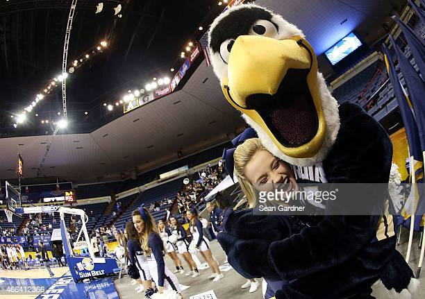 Georgia Southern Eagles cheelerders react as there team take on the Georgia State Panthersduring the Sun Belt Conference Men's Championship game at...