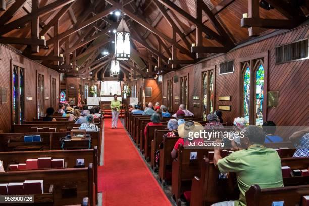 Georgia, St. Simons Island, Frederica, Christ Church, landmarked wood interior, guided tour.