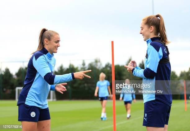 Georgia Stanway and Keira Walsh of Manchester City during the training session at Manchester City Football Academy on September 04 2020 in Manchester...