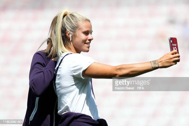 Georgia Stanway and Rachel Daly of England pose for a selfie during a pitch inspection prior to the 2019 FIFA Women's World Cup France 3rd Place...