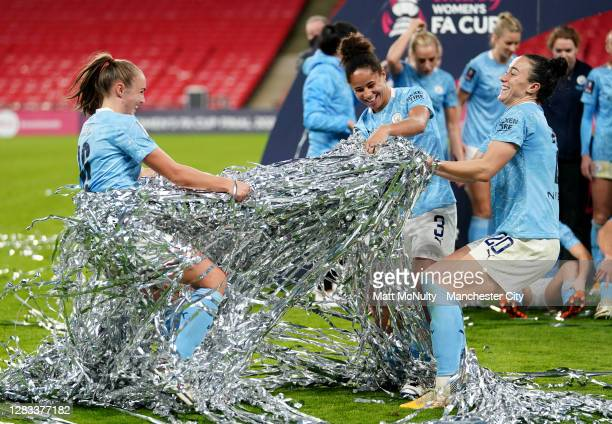 Georgia Stanway, Demi Stokes and Lucy Bronze of Manchester City celebrate during the Vitality Women's FA Cup Final match between Everton Women and...
