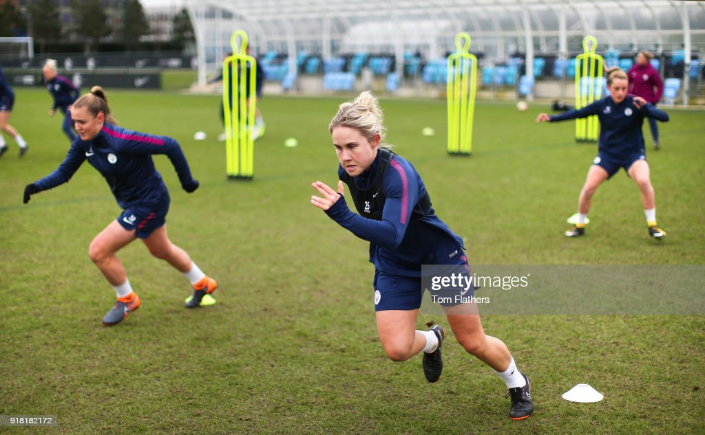 Georgia Stanway, Izzy Christiansen and teammates during training at Manchester City Football Academy on February 14, 2018 in Manchester, England.