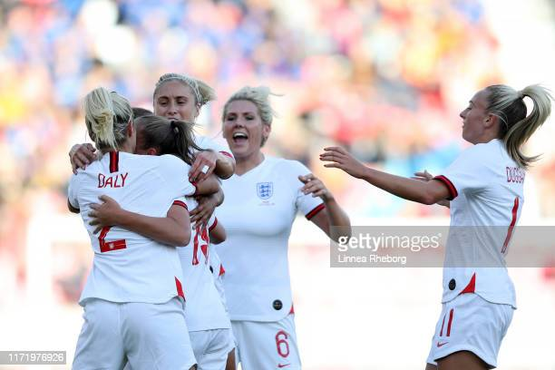 Georgia Stanway of England celebrates with team mates after scoring her team's first goal during the International Friendly match between Norway...